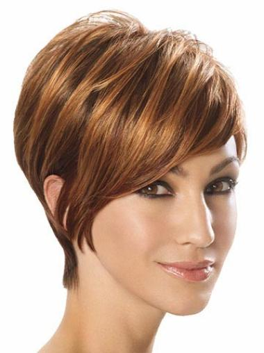 Stylish Brown Straight Synthetic Short Wigs