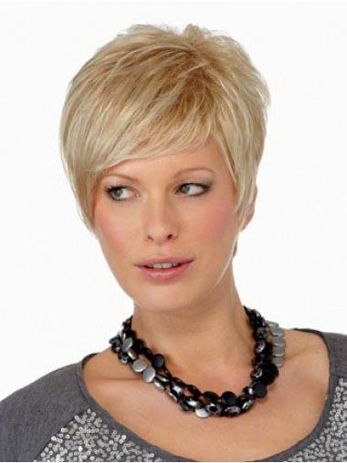Suitable Blonde Straight Synthetic Short Wigs