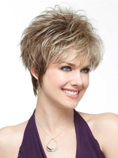 Top Blonde Straight Synthetic Short Wigs