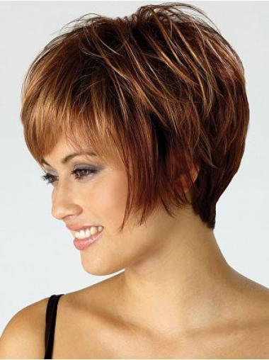 Wonderful Auburn Straight Synthetic Short Wigs