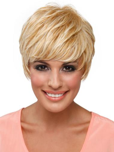 Amazing Blonde Straight Synthetic Short Wigs