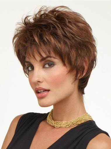 Beautiful Brown Wavy Synthetic Short Wigs