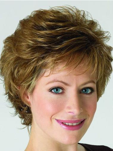 Durable Short Blonde Curly Synthetic Lace Front Wigs