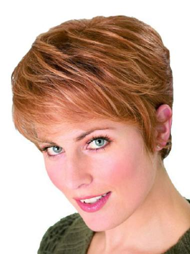Convenient Auburn Straight Synthetic Short Wigs