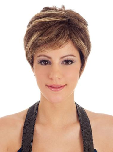 Designed Brown Straight Synthetic Short Wigs