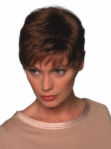 Durable Auburn Straight Synthetic Short Wigs