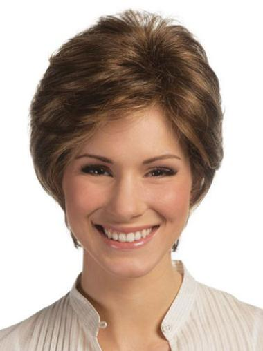 Fashionable Short Remy Human Hair Lace Front Wigs