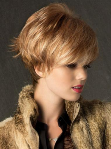 Flexibility Blonde Straight Synthetic Short Wigs