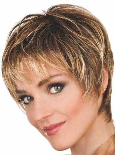 Gorgeous Brown Wavy Synthetic Short Wigs
