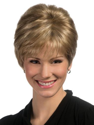 Great Blonde Straight Synthetic Short Wigs