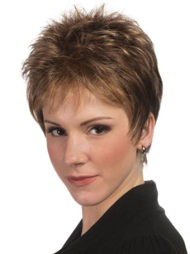 Modern Brown Straight Synthetic Short Wigs
