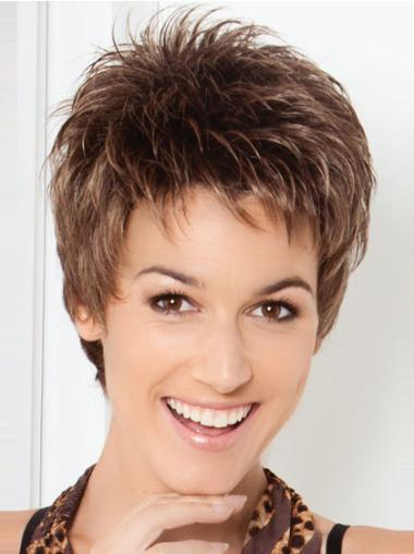 Short Brown Straight Synthetic Lace Front Wigs