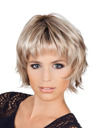 Realistic Blonde Wavy Synthetic Short Wigs
