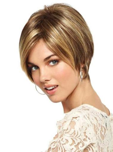 Blonde Straight Synthetic Monofilament Wigs