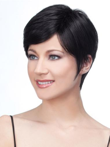 Short Black Remy Human Hair Lace Front Wigs