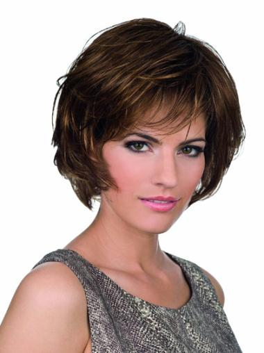 Short Brown Wavy Synthetic Lace Front Wigs