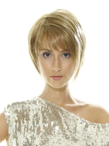 Short Blonde Straight Synthetic Lace Front Wigs