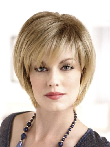 Short Blonde Straight Monofilament Wigs