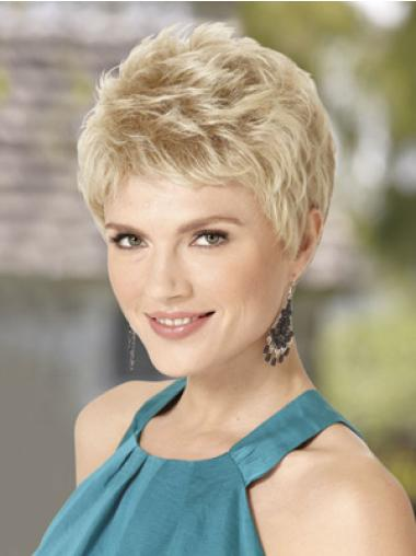 Trendy Blonde Wavy Synthetic Short Wigs