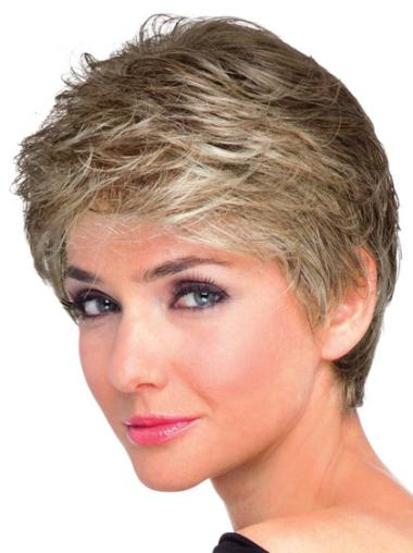 Cheap Brown Wavy Synthetic Short Wigs