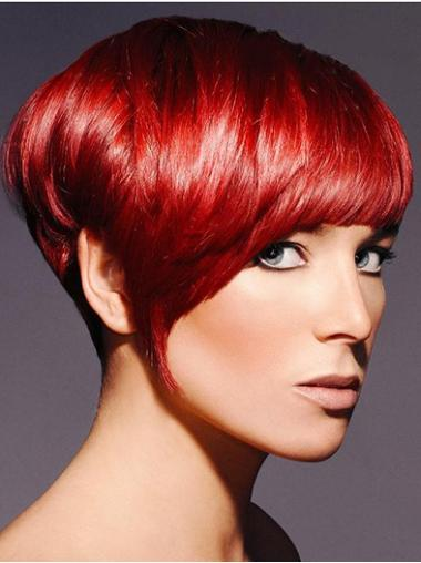 Convenient Red Straight Synthetic Short Wigs