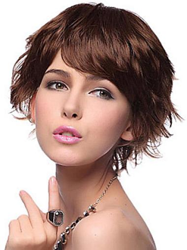 Perfect Auburn Wavy Synthetic Short Wigs