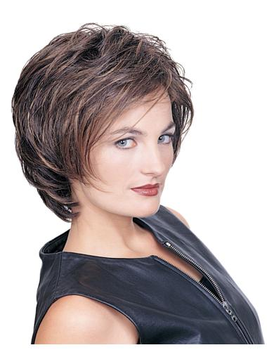 Designed Brown Wavy Synthetic Short Wigs