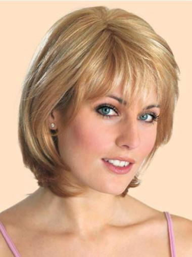 Sleek Chin Length Synthetic Cancer Wigs