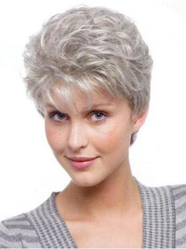 Short Wavy Synthetic Grey Wigs