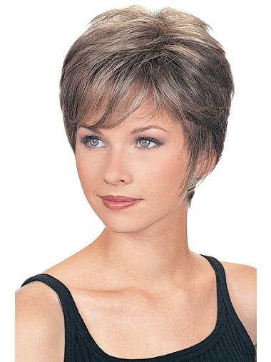 Cropped Wavy Synthetic Grey Wigs