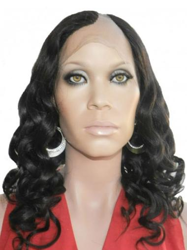 Soft Long Black Curly Lace Front Wigs