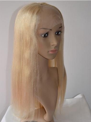 Long Blonde Straight Brazilian Remy Hair Lace Front Wigs