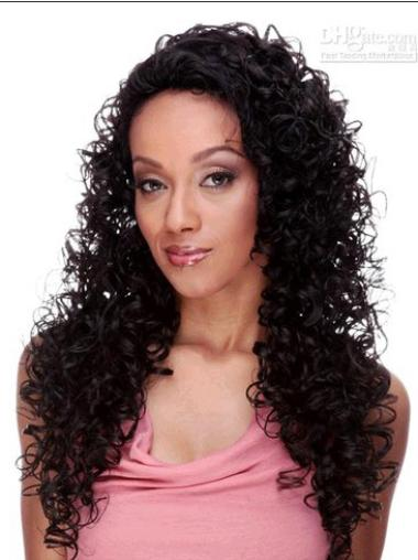 Long Brown Curly Brazilian Remy Hair Lace Front Wigs
