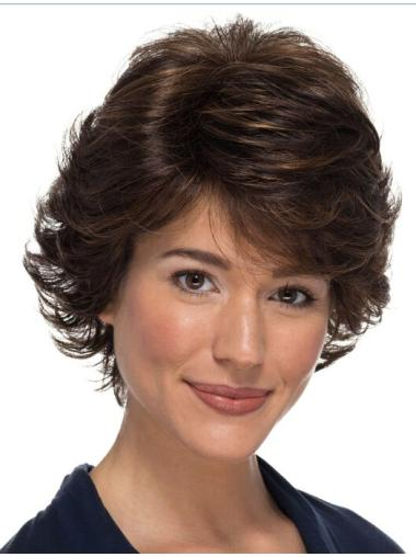 "Classic 8"" Wavy 100% Hand-tied Brown Wigs For Women With Cancer"