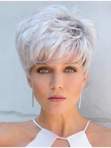 "Cropped Grey Straight 5"" Capless Wigs For Women"