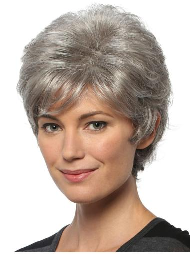 "Short Cheap Wavy 8"" Capless Grey Wigs"