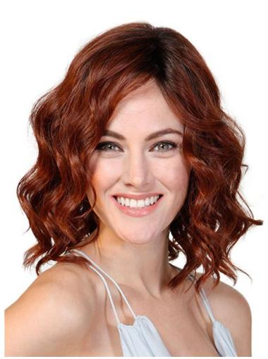"Without Bangs Red 12"" Monofilament Wavy Cancer Patients Wigs"