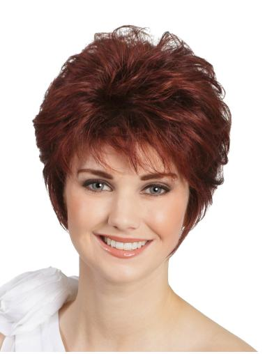 """Wavy Classic Red 8"""" Monofilament Wigs For People With Cancer"""