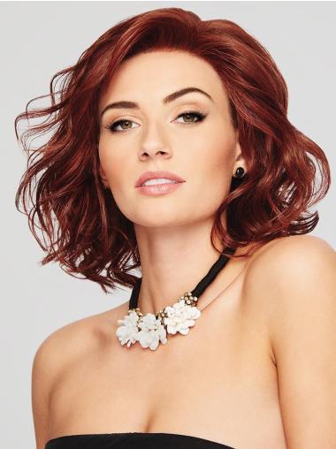 "12"" Layered Auburn Monofilament Medium Length Ladies Wigs"
