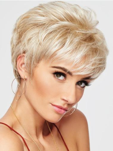 Capless Blonde Synthetic Pixie Haircut Wigs
