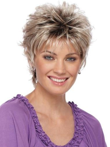 """3"""" Cropped Boycuts Synthetic Cheap Blonde Wig"""