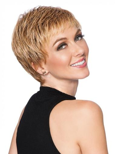 """3"""" Cropped Boycuts Synthetic Blonde Hair Wigs"""