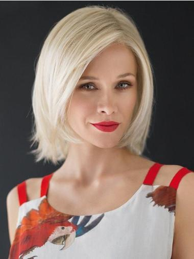 "Layered 12"" Chin Length White Monofilament Heat Resistant Wig"
