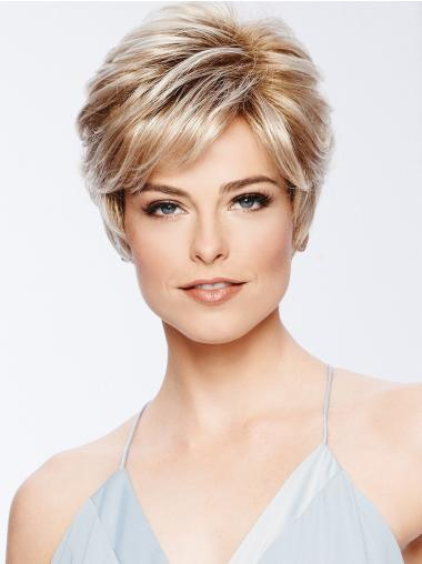 """4"""" Cropped Boycuts Synthetic Blonde Wigs Cheap"""