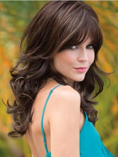 """With Bangs Synthetic 18"""" Long Brown Wigs For Women"""