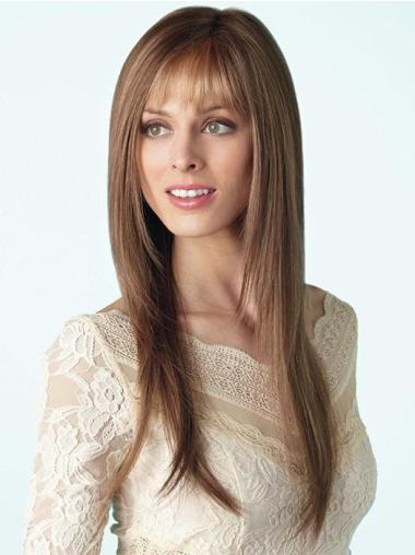 """Long With Bangs 18"""" Brown Lace Wigs Buy"""