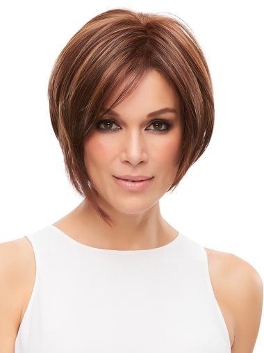 """10"""" With Bangs Auburn Monofilament Beautiful Medium Wigs"""