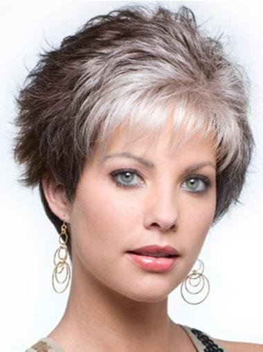 """Synthetic Cropped 4"""" Salt And Pepper Grey Wigs"""