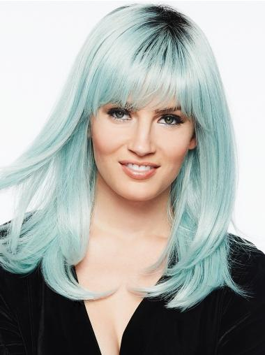 """With Bangs 14"""" Long White Capless Synthetic Wigs Cheap"""