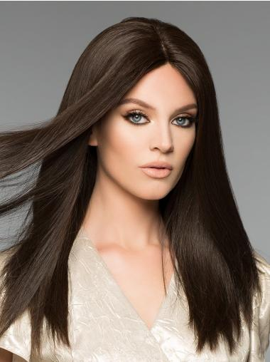 """Monofilament Without Bangs 16"""" Long Remy Hair Wigs"""
